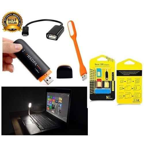 Universal Modem For All Nigeria Network 3G/4G With Card Reader Slot, USB Light, OTG Cable+SIM Card Adapter (7.2mbps)