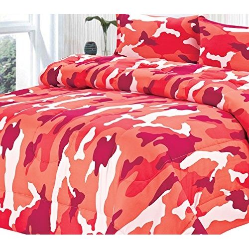 Goose Down Alternative Double Fill All Season Comforter, King, Pink Camouflage