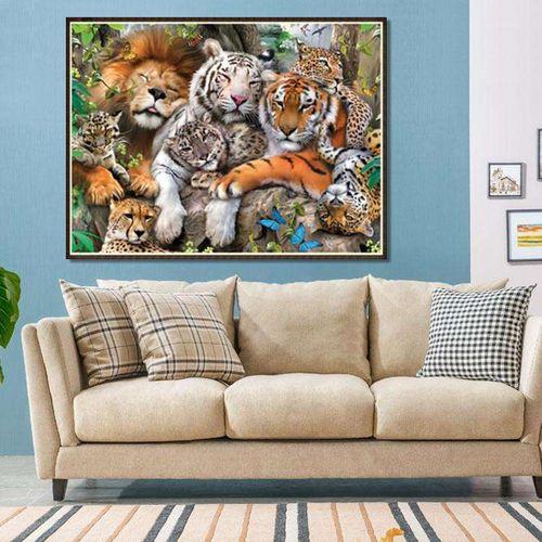 5D Diamond Painting Tiger Lion Animals Rhinestone Craft