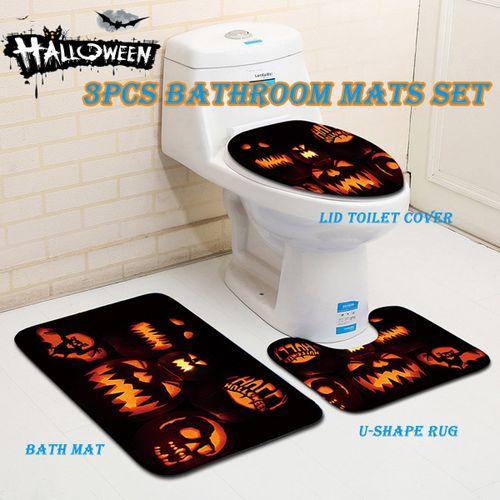 3Pcs Bath Mat Set Non Slip Pedestal Mat Toilet Bathroom Rug