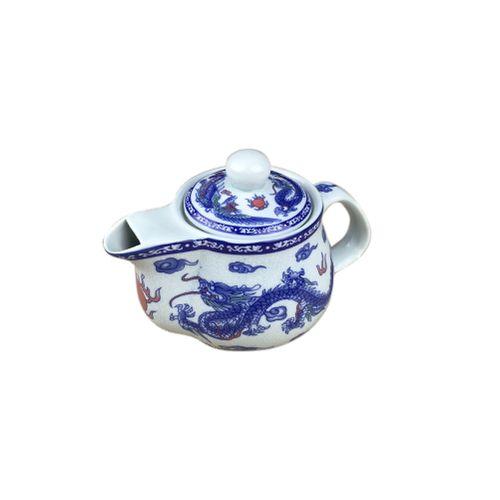 Porcelain Teapot Vintage Ceramic Teapots (Cyan Dragon)