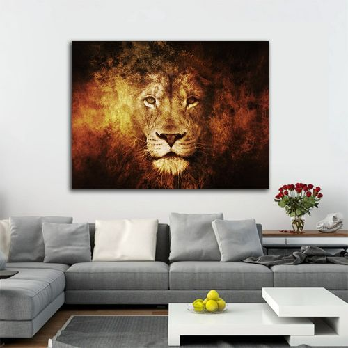 Fire Lion Wall Canvas Print