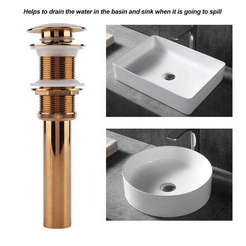 Kitchen Bathroom Ceramic Basin Sink Solid Brass Pop Up Drain Stopper With Overflow Hole