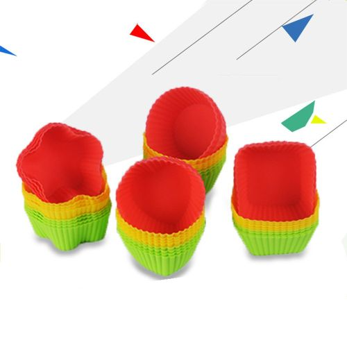 Multi-shape Silicone Muffin Cup Square Heart-shaped Cake Red