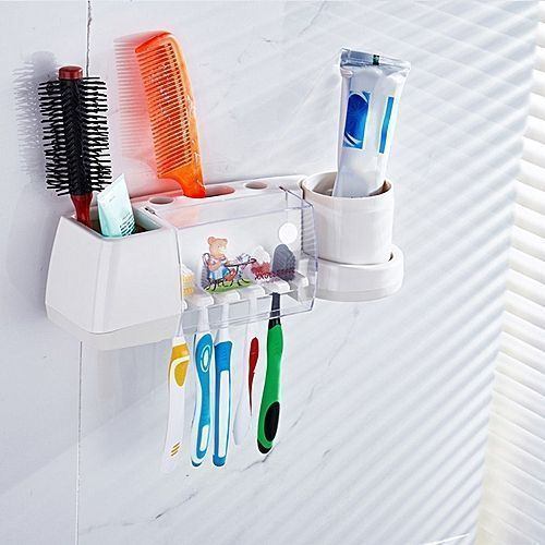 Toothbrush Hanger Holder Rack Stand With Suction Cup & Hook