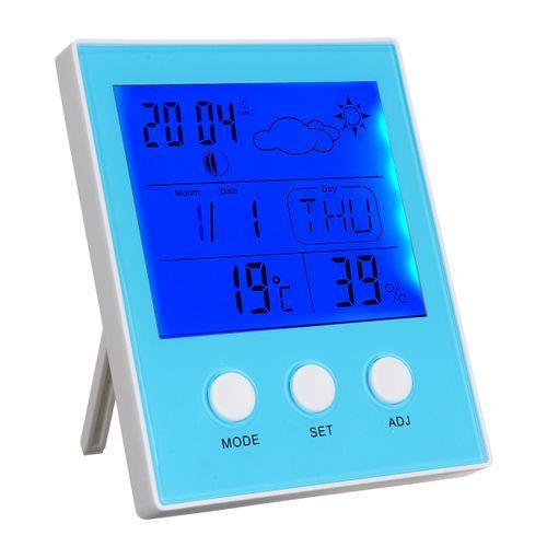 Indoor Digital Thermometer LED Backlight Time Date Calendar Alarm Clock