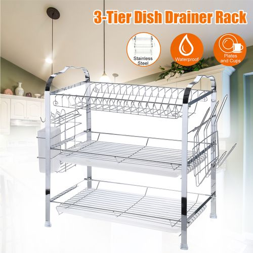 3 Tier Over Sink Dish Drying Rack Stainless Steel Kitchen Holder
