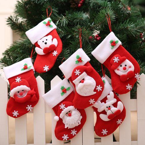 6Pcs Decorative Cute Cartoon Gift Packing Christmas Stocking