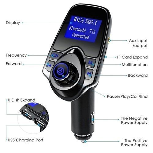 T11 BLUETOOTH AUTOMATED FM TRANSMITTER AND CAR CHARGER