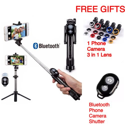 Mobile Phone Cell Tripod Stand Selfie Stick With Free Gifts