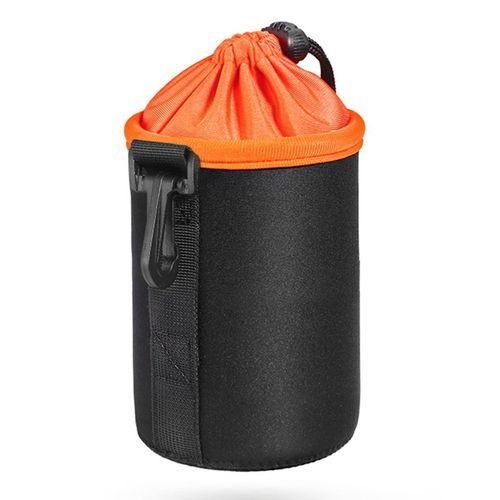 OR Waterproof Neoprene Pouch DSLR Camera Lens Protective Bag Soft Case-black & Orange-M