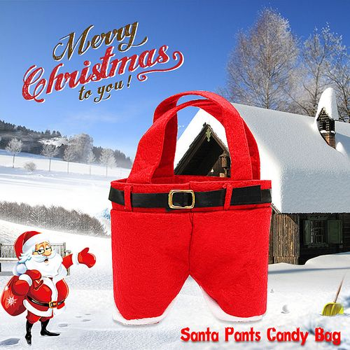 1/5/10 Xmas Santa Pants Gift Bags Sack Holder Stocking Filler Party