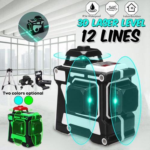 12 Lines Laser Level Auto Self-Leveling Green 3D 360? Rotary Cross Measure