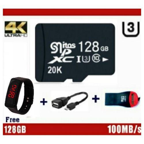 128GB Memory Card - XC U3 + Micro SD Card Reader + OTG Cable