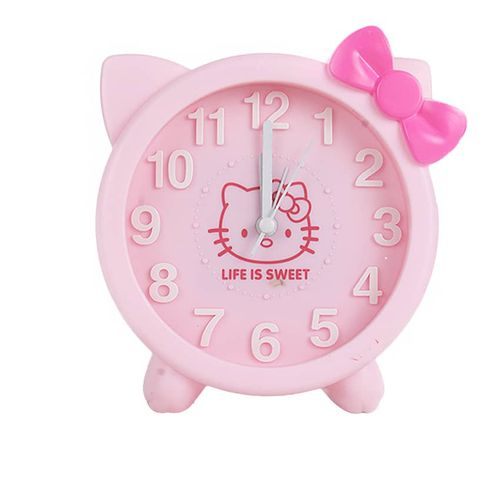 New Home Portable Cute Round Table KittyAlarm Clock Children Room Gift - Pink
