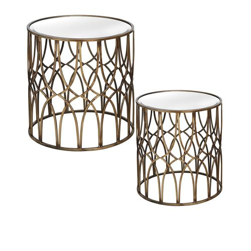 Gold Detail Mirrored Side Tables