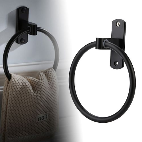 Euro Antique Style Towel Rack 16cm Diameter Black Paint Aluminum Towel Hanging Holder Ring For Bathroom Hotel Shelf