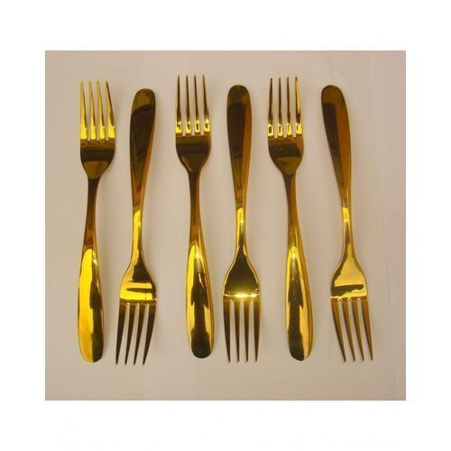 P - Luxury Gold Plated Stainless Steel Fork - 6Pcs
