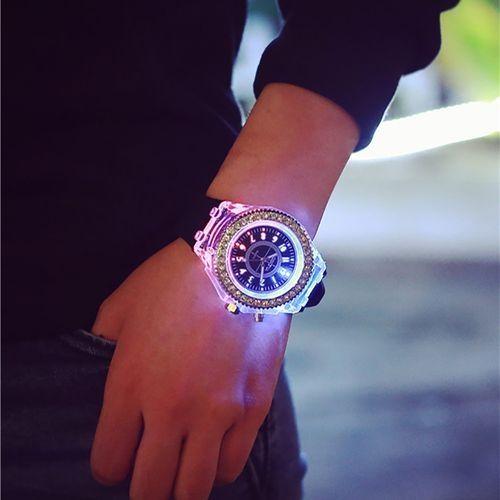LED Backlight Sport Waterproof Quartz Wrist Watch - black