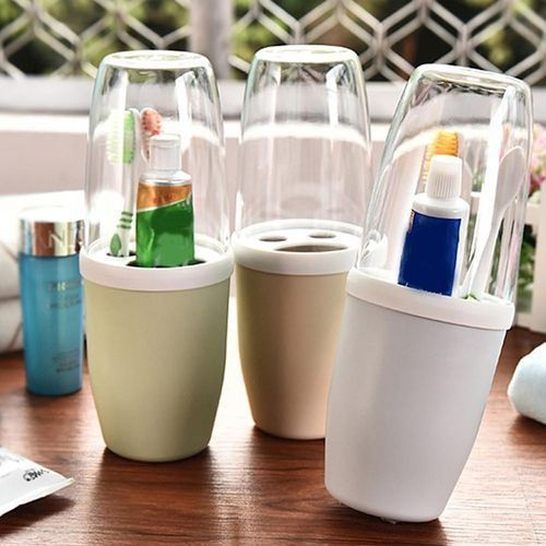 Transparent Cover Toothbrush & Toothpaste Holder
