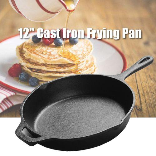 12'' Cast Iron Frying Pan No-Coating Saucepan Skillet Kitchen Home + Wooden