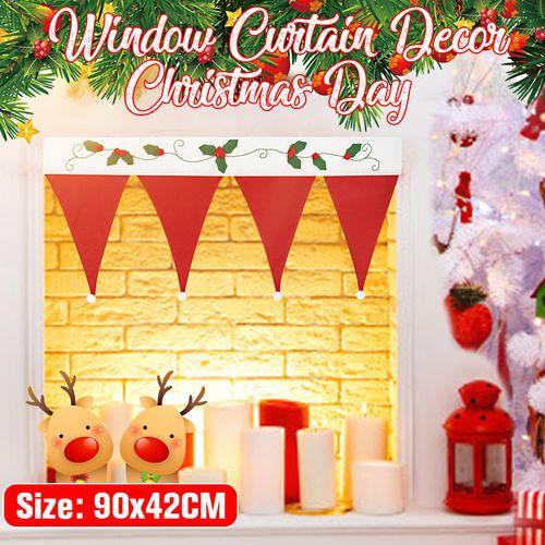 NEW DIY Santa Claus Hats Window Drape Valance Christmas Decorations Curtain Decorative Home 90cm