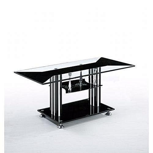 Center Table Tempered Glass (stripped Black /white