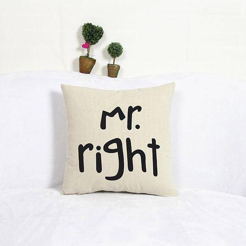Houseworkhu Home Decor Cotton Linen Mr Pillow Case Sofa Waist Throw Cushion Cover WH -White