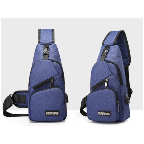 Mini Chest Bag Backpack, With USB Charging Port Blue