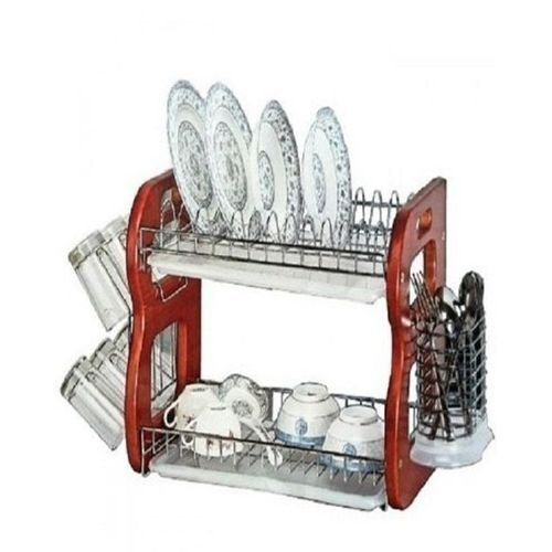 """2-Steps 22"""" Dish Rack Stainless With Wooden Stand"""