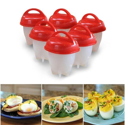 Cooking Hard Boil Eggs Without Shells, Poacher, Boiled, Steamer, Non Stick Silicone Egg Cooking Molds, 6 Pcs