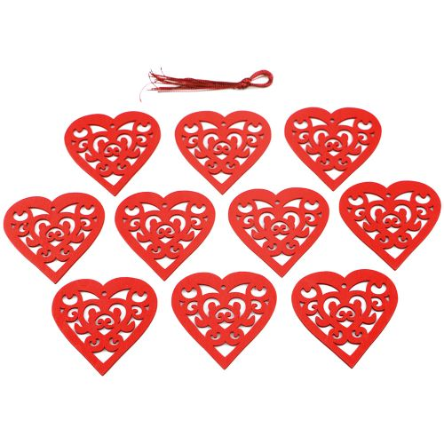 10Pcs Wooden Hollow Heart With String Romantic Hanging
