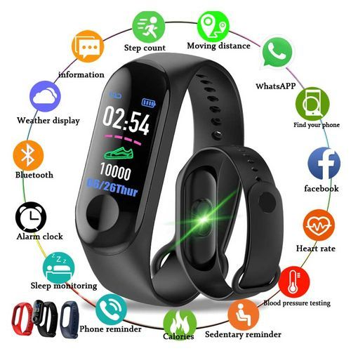 Sports Fitness Watch Activity Tracker Smart Wristband(Black)