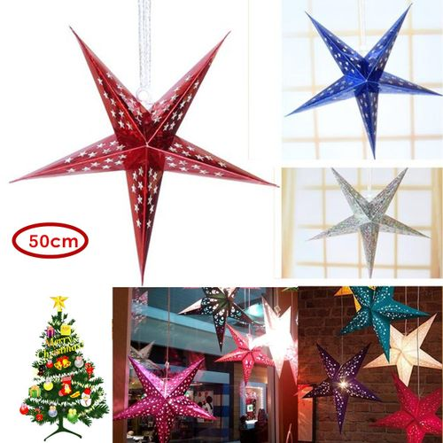 50cm Colorful Paper Star Hanging Star Home Decor For Advent Christmas Tree Wedding Party Holiday DIY Decorations Paper Crafts