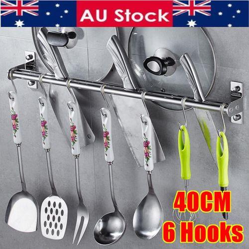 6 Hook Wall Mount Rack Utensil Stainless Steel Hanging Towel Pot Kitchen Storage