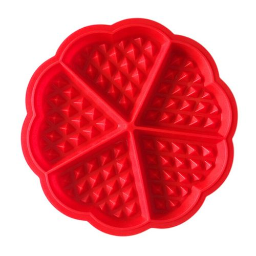 Houseworkhu Waffles Silicone Mould Pan Cake Baking Baked Muffin Cake Chocolate Mold Tray -red