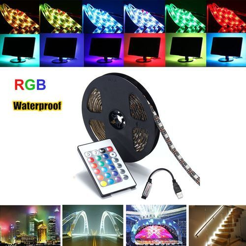 3m USB RGB LED Strip Light Bar TV Back Lighting + Remote Control Waterproof