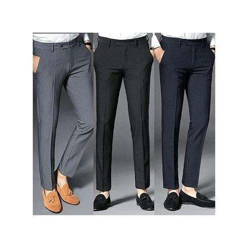 Three Pieces Smart Pant For Men- Ash,Black And Navy Blue