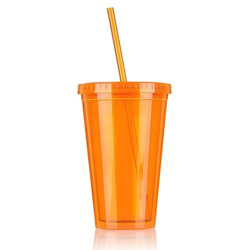 500mL Plastic Drinks Cup Liquid Beaker Lid + Straw For Party Iced Coffee Juice Orange