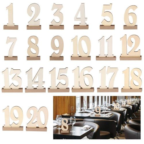 Wooden Table Numbers 1-20 With Base For Wedding Birthday Party Home Decoration