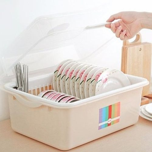Plastic Table Top Plate Rack & Drainer With Cover
