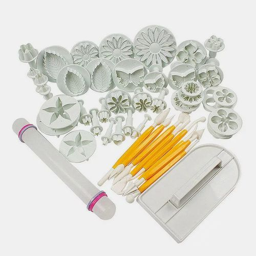 46Pcs/set Fondant Cake Decorating Sugarcraft Plunger Cutter