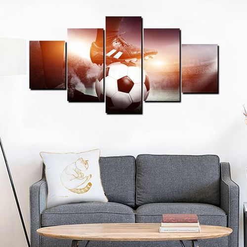 Canvas Wall Painting, Football & Shoes Canvas Painting 5 Panels Printed Picture Wall Art Home Office Bedroom Decor
