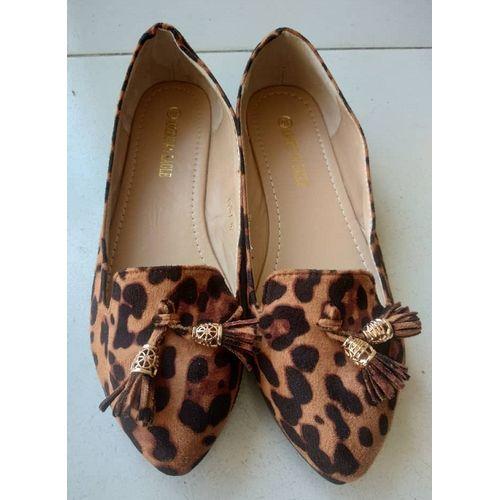 Female Suede Leopard Skin Flat Shoe - Brown