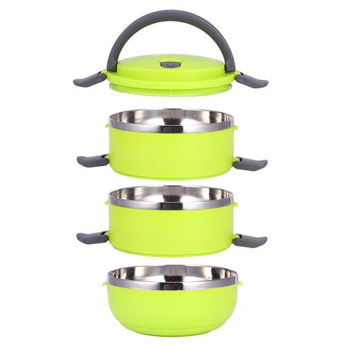 3 Layer Stainless Steel Portable Thermal Insulated Lunch Box Food Container(Green) - Intl