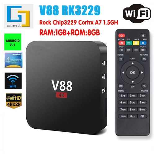 Smart Android 7.1 TV Box RK3229 Quad Core 4K H.265 2GB/16GB USB WiFi HD 2.4GHz-US Plug-US