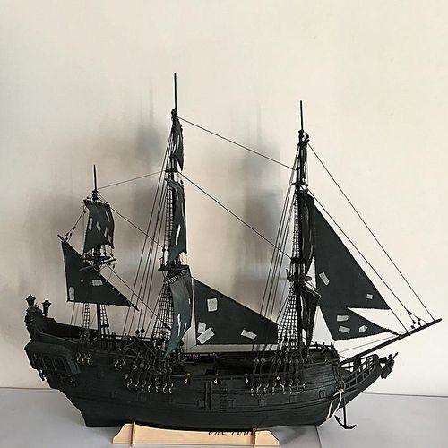 1:96 Proportion 3D Black Wooden Sailing Ship Case Home Model Ship Diy Gift Decoration