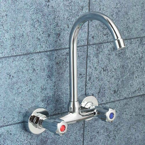 Cold And Hot Water Taps Deck Mounted Basin Faucets Bath Shower Faucets Dual Hole Bathroom Sink Washbasin Water Mixer Tap