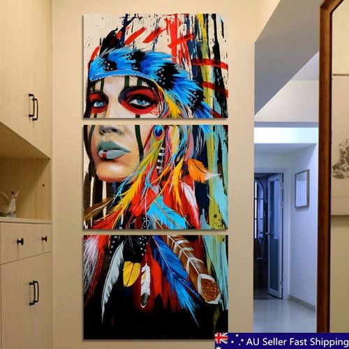 Indian Woman Canvas Painting Modern Abstract Wall Decor Art Printing