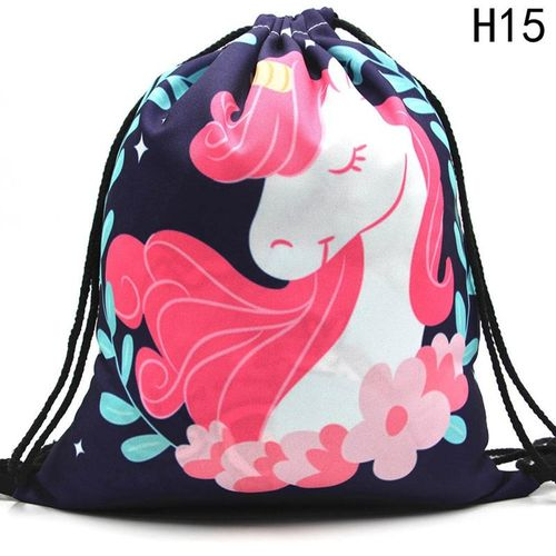 Shinewerop Women Casual Drawstring Bag Unicorn Printed Backpack Travel Bag